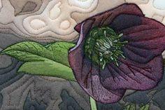 """Helleboris flower - an """"art concentrated"""" art quilt by Barbara Barrick McKie"""