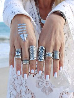 statement rings, nail, accessori, knuckle rings, boho bling