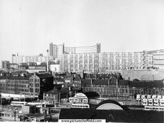 Elevated View looking across Pond Street Bus Station and former premises of George Senior and Sons, Ponds Forge (left); Joseph Rodgers, Sheaf Island Works towards Park Hill and Hyde Park Flats