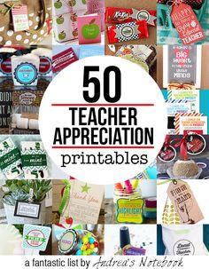 50 FREE teacher appreciation printables