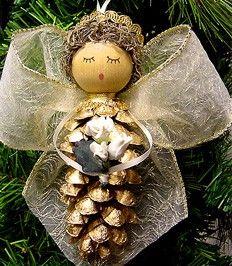 christmas time, christmas crafts, christmas ideas, pinecon angel