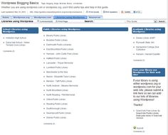 Public Libraries Using Wordpress - List compiled by Massachusetts Library System, 2013.