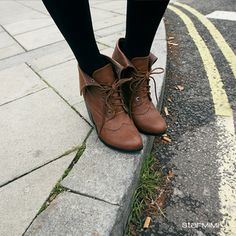 brown lace-up booties