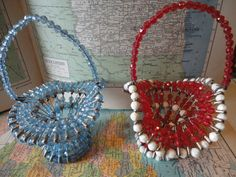 Daddy was always bringing craft ideas home from the office.  I guess whatever the ladies at work were making became our next family project.  We made these one year.  Pair of vintage beaded safety pin baskets    Instructions - http://www.beadwrangler.com/project8main.htm#Using