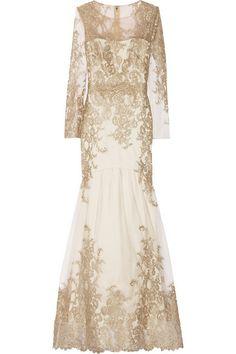 Gold Long Sleeved Wedding Dress