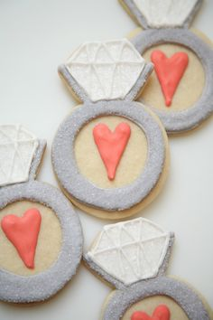 A engagement ring cookie *filled with LOVE* as a Bridal Shower favor!
