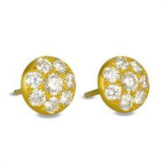 Caroline Ellen Yellow Gold Diamond Pave Disc Earrings