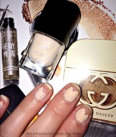 Fall Manicure Tutorial and navy and ivory half moon mani - daydreaming beauty