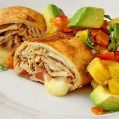 Pork Chimichangas with Avocado Pineapple Salsa - Another leftover rescue recipe using leftover roast pork from our Sunday dinner. Grilled chicken or pork chops will work just as well.
