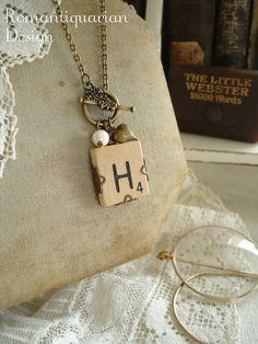 Vintage SCRABBLE Letter H Necklace. Old by RomantiquarianDesign, $24.50
