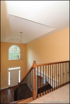 Foyer from above. Two story layout with a shallow barrel vault deign.