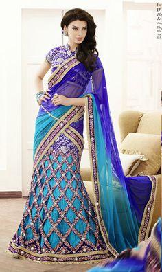 USD 99.89 Blue Lace Work Jacquard Wedding Lehenga Saree  34866