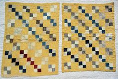 Pair of Almost Matching Doll Quilts Circa 1890 Cadet Blues Shirtings Yellow | eBay