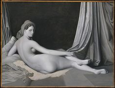 Jean Auguste Dominique Ingres (French, 1780–1867) and Workshop. Odalisque in Grisaille, ca. 1824–34. The Metropolitan Museum of Art, New York. Catharine Lorillard Wolfe Collection, Wolfe Fund, 1938 (38.65) | Ingres cited it in a list of works he executed in Paris between 1824 and 1834, a period bracketed by lengthy sojourns in Italy. #paris