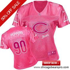 $69.99 Women's Nike Chicago Bears #90 Julius Peppers Game Fem Fan Pink Jersey
