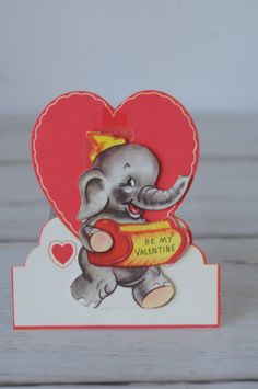 1960s Valentines Card Fold Down Card by PageScrappers on Etsy, $3.50