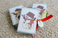 "Snowman tic tac gift | his belly with a 3/4"" circle punch so you can see the container of Tic Tacs"