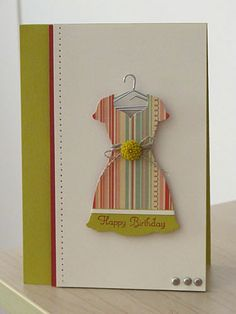 """♥ this gorgeous Dress card by Karen Thomas.  Featuring Stampin' Up!'s Dress Up Framelits Die, """"Summer Starfruit"""", """"Very Vanilla"""" and """"Riding Hood Red"""" card stock + patterned DSP.  The gorgeous Summer Starfruit Dahlia and coat-hanger finishes this cute card off to perfection!"""
