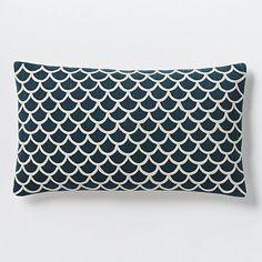 Scalloped Crewel Pillow Cover – Blue Lagoon #westelm