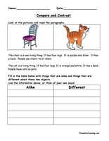Various printables for compare and contrast graphic organizers
