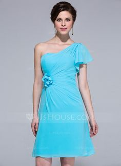 Bridesmaid Dresses - $99.99 - Sheath/Column One-Shoulder Knee-Length Chiffon Bridesmaid Dress With Flower(s) Cascading Ruffles (007037162) http://jjshouse.com/Sheath-Column-One-Shoulder-Knee-Length-Chiffon-Bridesmaid-Dress-With-Flower-S-Cascading-Ruffles-007037162-g37162