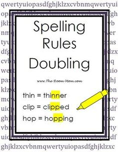 Spelling Rules-- The Doubling Rule, thin to thinner, word list, practice page and test ($)