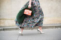The Jimmy Choo REBEL bag in Neon Flame and ARI pump spotted at PFW