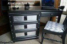 Aluminum Foil Accented Desk -