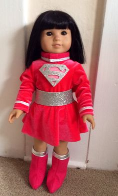 Super Hero costume -  Pink Super Girl parody for 18 inch doll