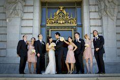 A Classic Wedding at San Francisco City Hall — The Lovely Bay      Photos by Orange Photography    {San Francisco, wedding, city hall, wedding party, blush, pink, cream, bridesmaids, groomsmen,}