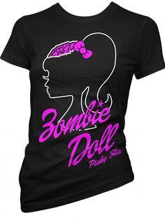 "Women's ""Zombie Doll"" Tee by Pinky Star (Black) #InkedShop #barbie #zombie #tee #top #style #fashion #womenswear #womensclothing"