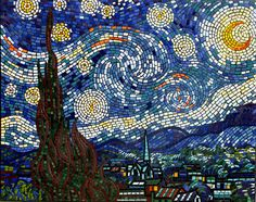 Reproduction of the famous Van Gogh painting Starry Night mosaic mural in ceramic tiles by Brett Campbell Mosaics