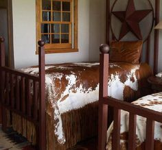 Our bunkhouse. One room prior to the queen. Now beds in bunk room. Jimmy Don Holmes at Stars Over Texas made these.