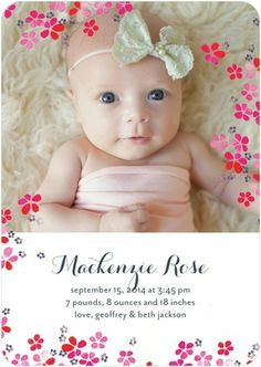 Delicate Blossoms - Girl Photo Birth Announcements - Papier Fabrik - Cranberry Red #baby #TopPin