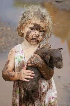 Bath Time!! little girls, mud, immune system, children, puppi, dog, friend, bath time, kid