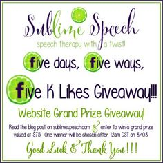 5 days… 5 ways… 5K Facebook Likes CELEBRATION!  Grand Prize giveaway on the @SublimeSpeech site - ends 8/8/14.