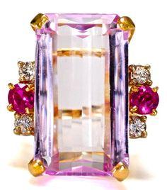 Magnificent 27.3 ct Kunzite Ruby Diamond Ring