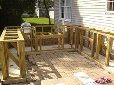 DIY Bar Top Design Ideas | ... match existing patio, preparation for concrete counter top were made