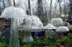 glass mushrooms with vases and bowls mushroom, yard sale finds, punch bowls, light fixtures, homestead survival, yard art, vintage vases, craft stores, garden