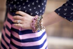 Our Pink Pave Link Bracelet on Pink Peonies.  Love the pink and navy combo!
