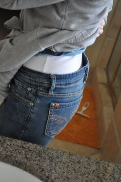 How to fix the gap in the back of your jeans. Awesome idea!