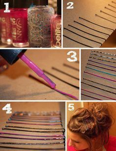 paint bobby pins with fingernail paint