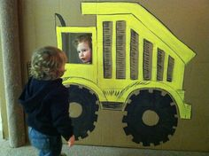 Construction Party - Dump Truck Photo Booth from a cardboard box - go ahead and snicker construction theme, cardboard boxes, happy birthdays, birthday parties, photo props, construction birthday, construction party, photo booths, 2nd birthday