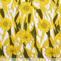 Vintage Golden Flowers Cotton Jersey Knit Fabric