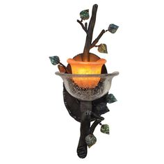 Cottonwood Sienna Bronze One-Light Wall Sconce with Hand Painted Art Glass