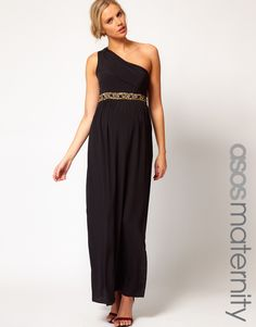 One-shoulder maxi dress with embellishment. Stunning for $35! #Maternity #Pregnancy