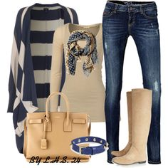 SPLENDID Striped Knit Navy Oversized knit cardigan; Giuseppe Zanotti Suede knee boots #outfit