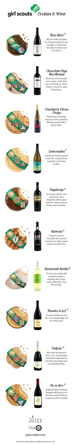 Girl Scout Cookies & Wine Pairings! Sometimes after a meeting this is all you want! I love this idea. Super fun.