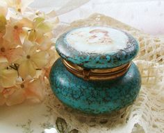 Victorian Opaque Turquoise Glass Powder Vanity Jar by Alyssabeths, $25.00