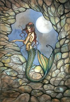 """""Hidden Cavern"" Mermaid Art by Molly Harrison"" by Molly Harrison 